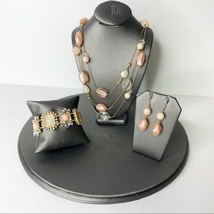 CHARMING CHARLIE 3 Pc Jewelry Set Peach Gold